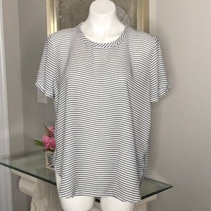 Loft Outlet Black/White Striped Hi/Lo Top, Size L